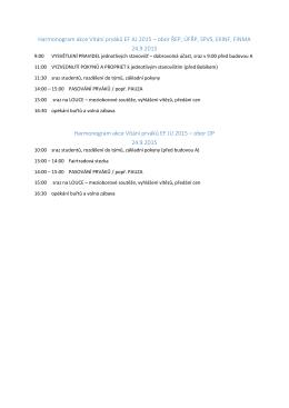 Harmonogram akce Vítání prváků EF JU 2015 – obor ŘEP, ÚFŘP