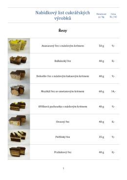 Nabídkový list cukrářských výrobků