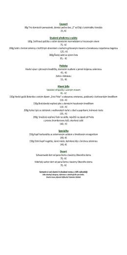 menu restaurace