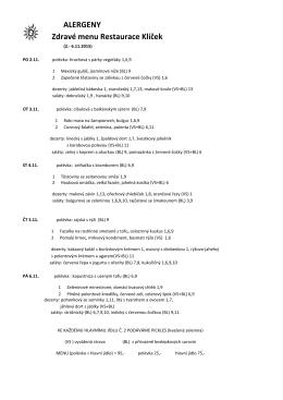 ALERGENY Zdravé menu Restaurace Klíček
