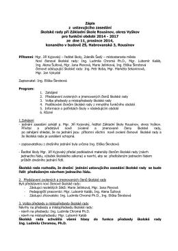 Zápis z jednání školské rady ze dne 11.12.2014