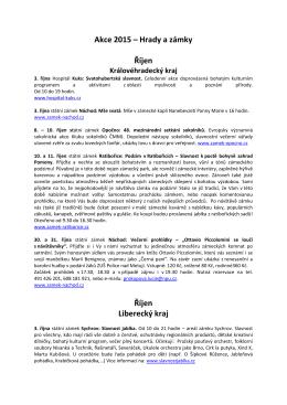 Akce 2015 – Hrady a zámky Říjen Říjen Liberecký kraj