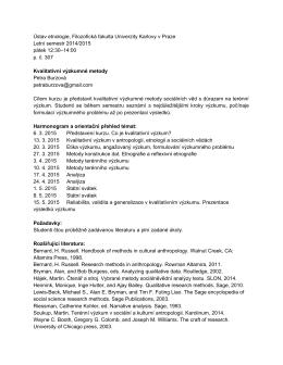 Ústav etnologie, Filozofická fakulta Univerzity Karlovy v Praze Letní