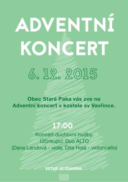 Obec Stará Paka vás zve na Adventní koncert v kostele sv Vavřince