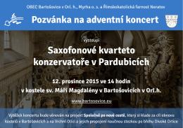 Pozvánka na adventní koncert Saxofonové kvarteto konzervatoře v