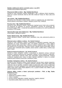 Nabídka vzdělávacích aktivit a seminářů centra v roce