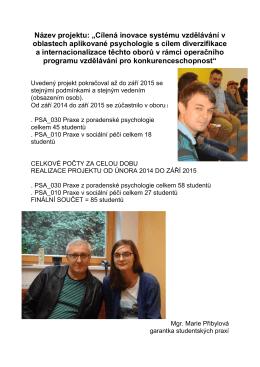 Zpráva o pokračování projektu