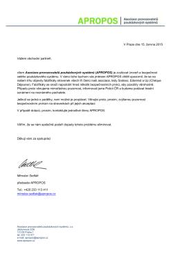 V Praze dne 15. června 2015 Vážení obchodní partneři, cílem