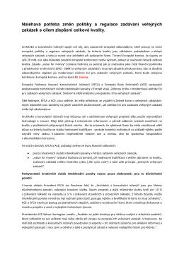 Změny pro zadávání veřejných zakázek a regulace s cílem