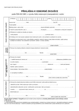 přihláška k odborné zkoušce - řidič manipulačních