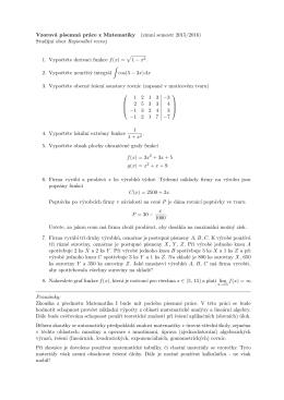 Vzorová p´ısemná práce z Matematiky (zimnı semestr