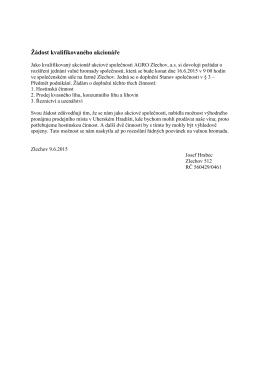 Žádost kvalifikovaného akcionáre (datum