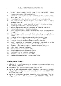 Teória - Pedagogická fakulta