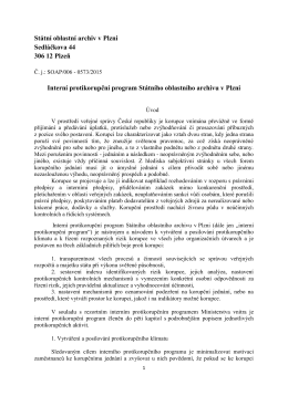 Interní protikorupční program - Státní oblastní archiv v Plzni