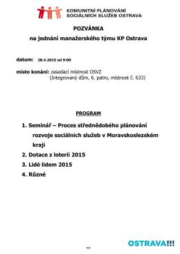 Pozvánka na jednání MT KP 28.4.2015