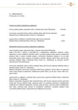 Kritéria pro přijetí a postup přijímání k základnímu vzdělávání