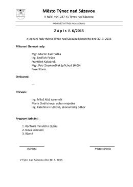 Zápis č. 06/2015 z jednání rady města konaného dne 30.3.2015