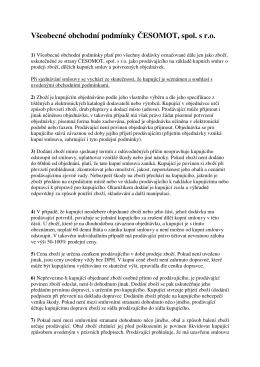 Všeobecné obchodní podmínky ČESOMOT, spol. s r.o.