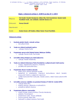 Zápis z výborové schůze č. 4/2015 ze dne 27.3.2015