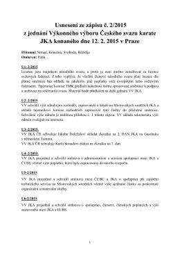 Usnesení ze zápisu č. 2/2015