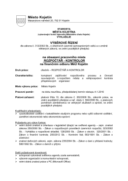 Výběrové řízení - sociální pracovník (dokument pdf)