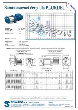 Použití: čerpání čisté vody do vodovodních , tlakových systémů