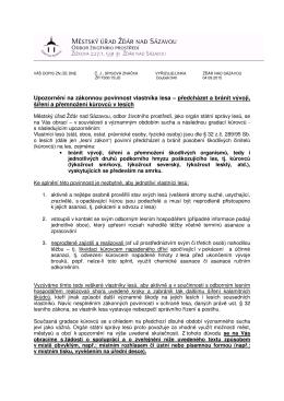 Upozorn ní na zákonnou povinnost vlastníka lesa – p - e