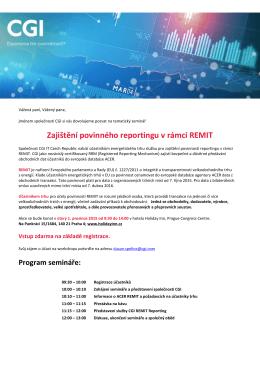 Zajištění povinného reportingu v rámci REMIT
