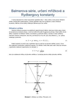 Rydbergova a mřížková konstanta, Balmerova série