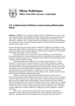 TZ Vyjádření města Pelhřimov k otázce pelhřimovského hokeje