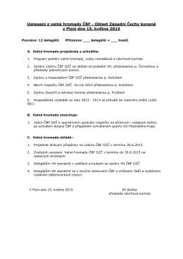 Usnesení z valné hromady ČBF - Oblast Západní Čechy konané v