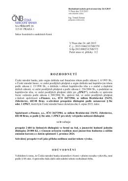 Česká národní banka - schválení dluhopisů 2015