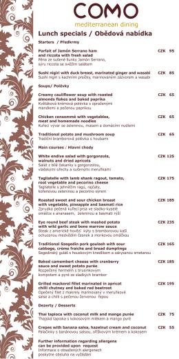 mediterranean dining Lunch specials / Obědová nabídka