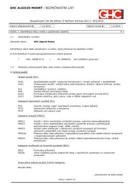 Bezpečnostní list GHC Algicid modrý