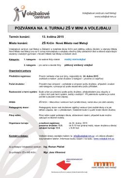 pozvánka na 4. turnaj zš v mini a volejbalu