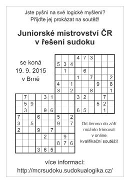 Juniorské mistrovství ČR v řešení sudoku