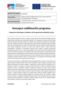Progresivní technologie v obrábění a NC programování obráběcích