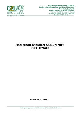 Final report of project AKTION 70P6 PREFLOWAT3