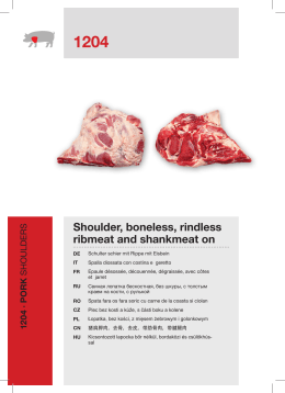 Shoulder, boneless, rindless ribmeat and shankmeat on