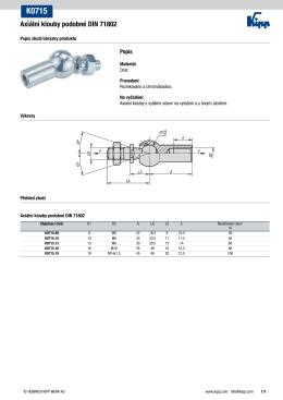 Datový list K0715 Axiální klouby podobné DIN 71802