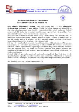 studentská ošetřovatelská konference na téma Výživa
