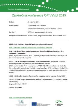 Závěrečná konference OP VaVpI 2015