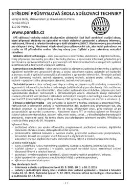 SPŠ sdělovací techniky, Panská 856/3, 110 00 Praha 1