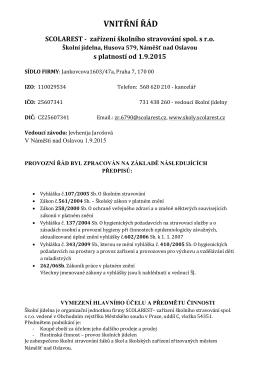 VNITŘNÍ ŘÁD - Základní škola Náměšť nad Oslavou, Husova 579