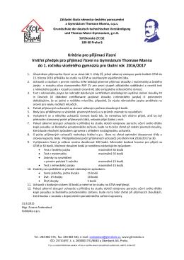 Vnitřní předpis pro přijímací řízení na GTM