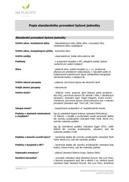 Popis standardního provedení bytové jednotky