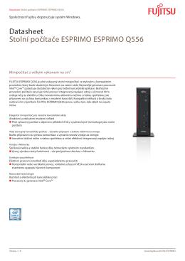Datasheet Stolní počítače ESPRIMO ESPRIMO Q556