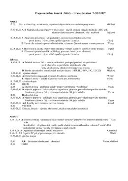 Program školení trenér ů 3.třídy – Hradec Králové 7.