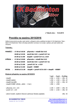 Pravidla na sezónu 2015/2016