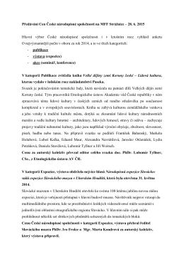 Předávání Cen České národopisné společnosti za rok 2014